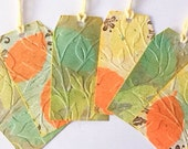6 Handmade Leaf Gift Tags - Fall leaves - Adorned - gift adornments - large gift tags - embossed