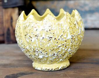 "Pastel Yellow Mid-Century Planter - Ceramic, White & Gold Splatter Glaze by Savoy, ""Cracked Egg"" Spike Top - Vintage Home Decor"