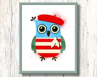 French Owl nursery art. Printable stencil kids room wall art. Red blue white cartoon owl illustration for kids room.