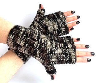 SALE - 50%OFF. Knit Fingerless Gloves. Brown Knit Mittens. Knitted Wrist Warmers. Fingerless Mittens. Hand Knit Gloves. Hand Warmers.