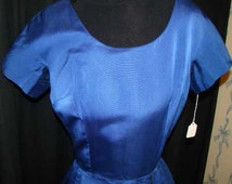 Beautiful  late 50's early 60s Royal bluesilk dress