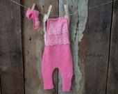 Up-cycled Pink Angora sitter set, romper and headband 6-9 mths - UK seller - RTS