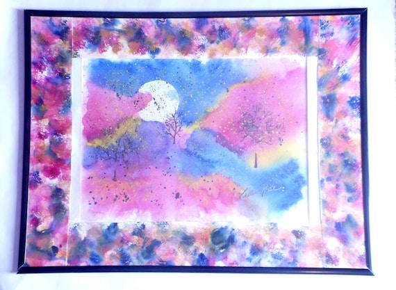 Colorful home decor, Fantasy painting, Full Moon artwork, Original artwork, colorful wall art, Framed artwork,  home decor, wall hanging