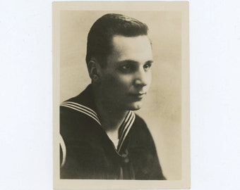 Handsome Sailor Portrait, c1930s-40s Vintage Photo [56365]