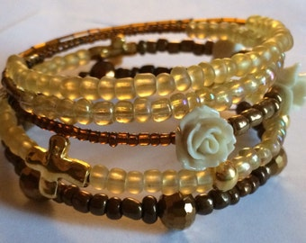 "Beautiful ""Passion"" Beaded Memory Wire Bracelet"