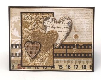 Romantic Golden hearts vintage style blank card, I Love  You, brown gold anniversary card