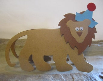 Paper Lion Zoo Favor Tags, Place Cards, Name Cards, Table Tents, Invitations, Birthday Place Cards, Baby Shower Place Card - 12