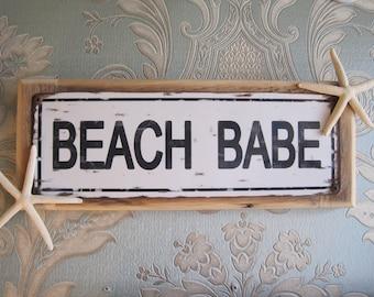 "Beach Decor Sign - ""Beach Babe"" Sign - Coastal Home Decor - Wooden Sign - Beach Sign - Starfish - Beach Babe"
