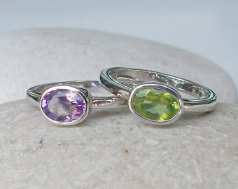 August February Birthstone Ring- Purple Green Stack Ring- Peridot Amethyst Ring- Mothers Family Ring- Colorful Ring Set