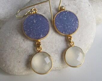 Blue Druzy Dangle Earring- Double Drop Mix Earring- Two Stone Statement Earring- Long Gemstone Earring- Sterling Silver Earring