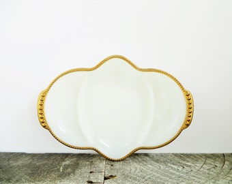 Milk Glass Bowl - Pretty Gold Rim - Vintage - White Wedding Decor