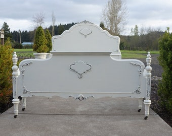 Antique Full Bed / Shabby Chic Bed / Cottage Bed / Double Bed Frame ~ Paint To Order ~