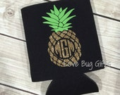 Glitter pineapple monogram personalized can cooler
