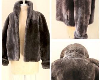Lovely Grey/Gray 1950s Mouton Coat