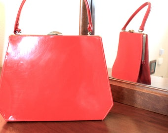 "Red Vinyl ""Lipstick Red"" 1960s purse"