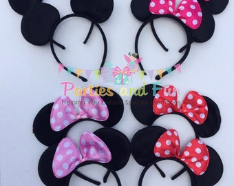 Minnie Mouse Ears, Minnie Mouse, Mickey Mouse, Minnie Mouse Ears headband, Minnie Mouse Party Favors, Mouse Ears, Minnie Mouse Party