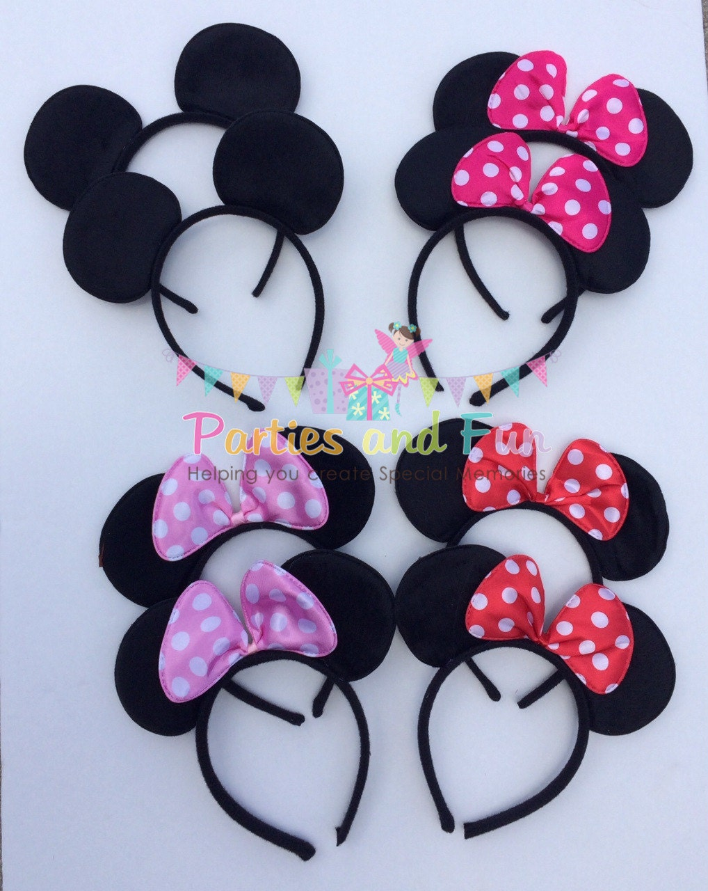 minnie mouse ears minnie mouse mickey mouse by partiesandfun. Black Bedroom Furniture Sets. Home Design Ideas