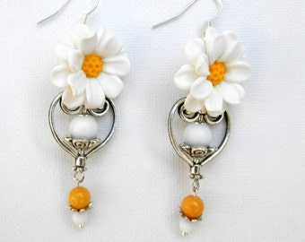 Daisy Earrings Flower Earrings White Earrings Romantic Jewelry Flower Jewelry Daisies White Jewelry Handmade Earrings Gift For Her