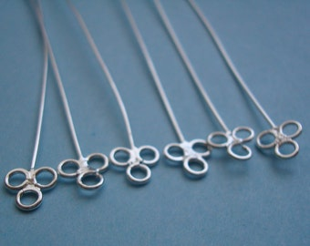 6 Long Fancy Head Pins / Soldered Eye Pins, Sterling Silver .925, 22 Gauge,  Over 2.5 Inches, SHP222