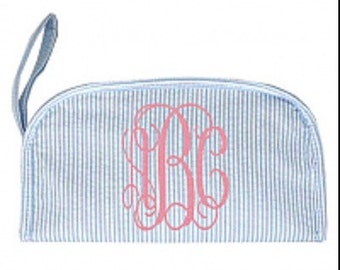 Seersucker Cosmetic Case, Monogrammed Cosmetic Case, Seersucker Make Up Bag, Monogrammed Make Up Bag