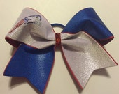 """3"""", 3 inch cheer bow all star cheer bow with royal spandex snd silver velvet PATRIOTS cheer bow on grosgrain ribbon"""