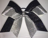 """Cheer Bows for sale; 3"""", 3 inch cheer bow with black and silver holographic glitter on grosgrain ribbon"""