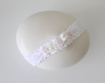 Girls Headband- Silk Flowers and Pearls Lace Headband-Baptism Headband-Flower Girl Headpiece-Handmade Children Clothing by Chasing Mini