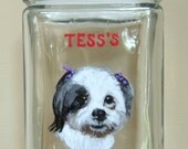 Dog Biscuit Jar, Pet Food Canister, Personalized Jar, Handpainted Pet, Kitchen Decor, Storage, Dog Food Holder, Snack Container, Glassware