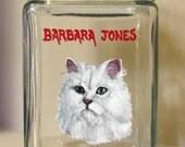 White Cat, Treat Jar, Custom Canister, Painted Pet Portrait, Catnip Container, Pet Food Holder, Pet Storage, Cat Snack, Handpainted Jar