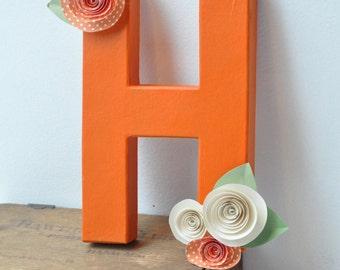Paper Flower Letters, Paper flower decor, letter decor, hanging letter, orange wedding decor