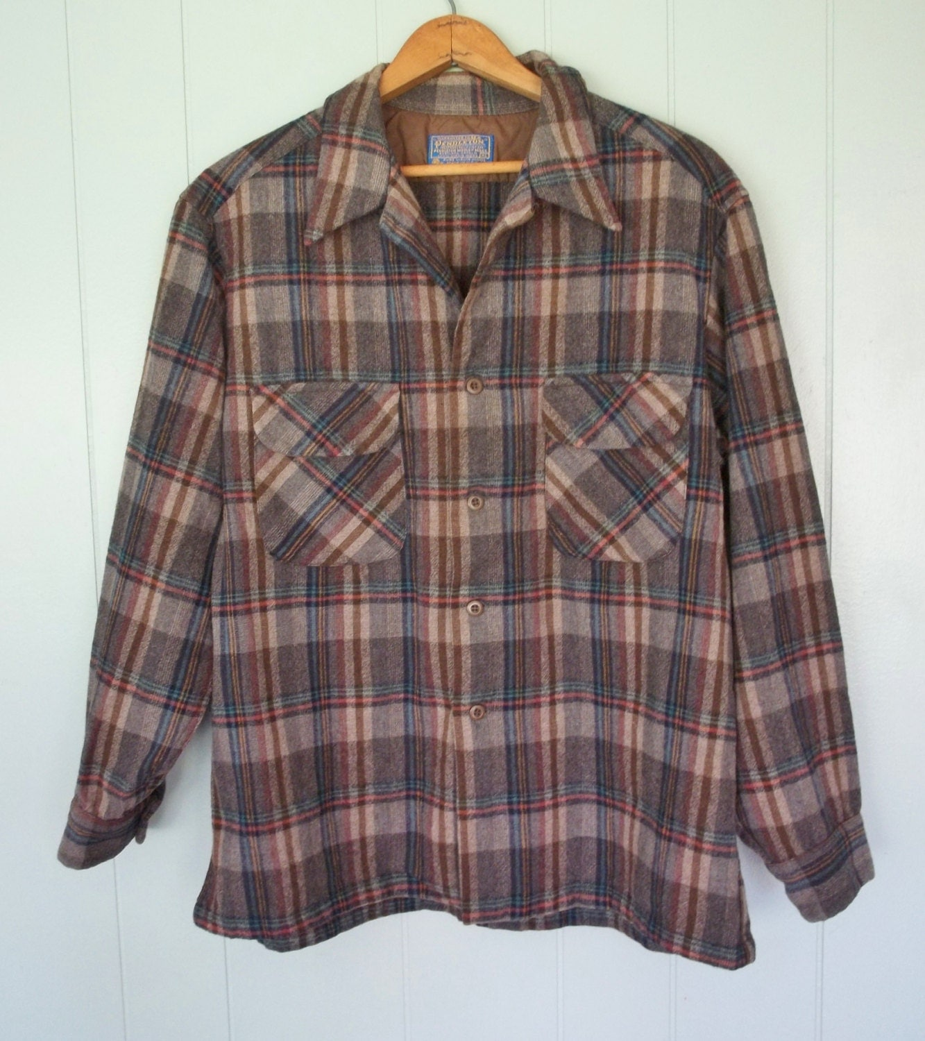Pendleton Wool Button Down Plaid Shirt Brown Neutrals