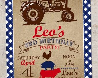 Tractor/Farm Birthday Invitation, Printable Farmer Boy/Tractor Invitation