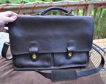 Coach Black Leather Prescott Briefcase 5275 Made in USA