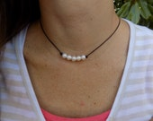Pearl & Leather Necklace, 5 Pearl Necklace, Knotted Leather/Pearl Necklace, Single Pearl Necklace