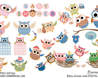 Baby shower owl digital clip art for Personal and Commercial use - INSTANT DOWNLOAD