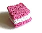 Crochet Washcloths - Cotton Crocheted Washcloths - Baby Washcloths - Kitchen - Bathroom - Baby - Set of 3 - Wash Cloth - Washcloth