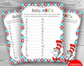 Baby Shower Game, Printable Dr Seuss Baby Shower Game, Dr Seuss Shower Game Baby ABC - INSTANT DOWNLOAD