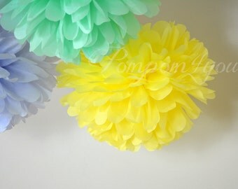 SALE - 5 Tissue Paper Pom Pom Set + 3 FREE POMS // Wedding Decor // Choose your Colors // Nursery Decor // Birthday Decor // Bridal Shower
