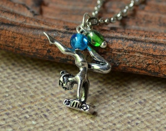 Gymnastics Necklace Silver Blue Green Gymnast Pendant Teen Girl Tiny 3D Acrobat Fashion Jewelry Balance Beam Paisley Beading FREE Shipping