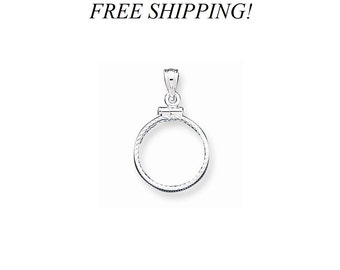 Sterling Silver 18 x 1. 2mm Diamond Cut Coin Bezel Pendant