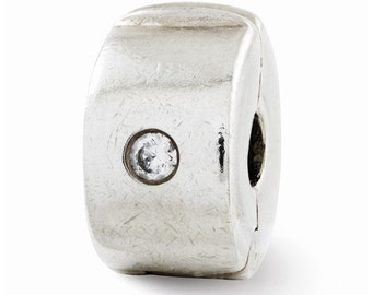 Sterling Silver Hinged CZ Clip Bead