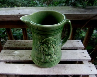 vintage green stoneware pitcher the BUCKENEER