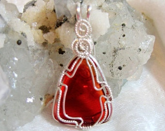Red Quartz Pendant Triangle Wire Wrapped in Sterling Silver Solid Argentium Anti-tarnish 930