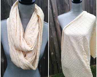 CLEARANCE - Infinity Nursing Scarf - Cream - Breastfeeding Cover - Textured