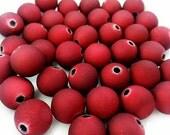 15 Metallic Red Beads 10mm Beads Round Beads