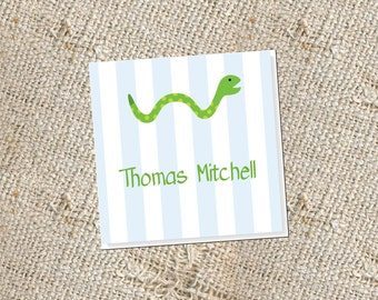 Children's Personalized Gift Cards -  24 cards; Gift Enclosures for Kids; Snake Gift Tags; Gift Cards for Boys