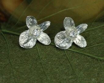 Sterling Silver Hydrangea Flower Earrings with Zirconia, Real Hydrangea Blossom Earrings