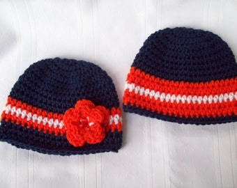 Detroit Tigers Inspired Newborn Baby Hats  //  Boys and Girls Baby Hats  // Blue and Orange Baby Hats  // Twin Baby Hats