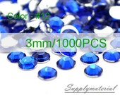 3mm/1000pcs Blue color Flatback Rhinestone Crystal accessories material supplies