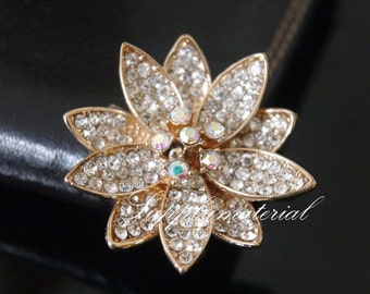 1PCS 40x40mm Golden Crystal 3D flowers Alloy jewelry Accessories materials supplies